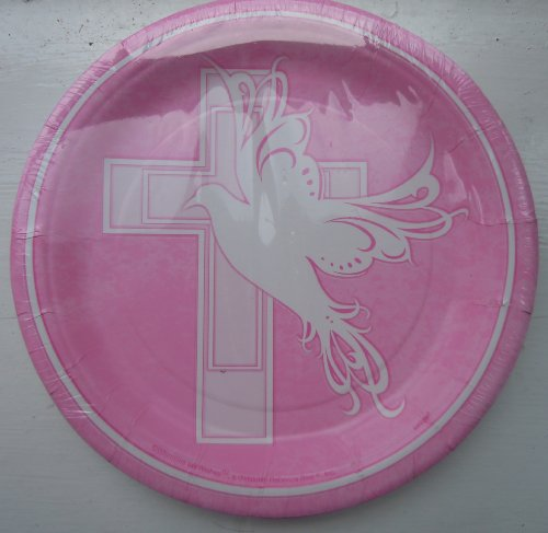 Dove Cross Christening Communion Girl Pink Party Plates 9' 8p7