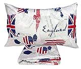 tex family Bettbezug Flagge Englisch & Amerika Apple and Sherlock Holmes – Doppelbett 250 x 200 cm