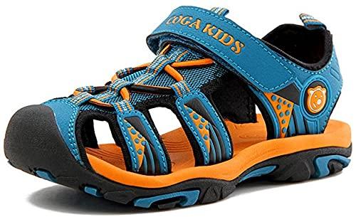 NASONBERG Kinder/Jungen/Mädchen Schuhe Klettverschluss Sommer Sandalen, Gr.-24 EU, Blau