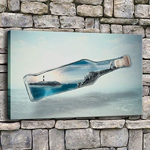 NIMCG Lienzo Pintura Inicio Arte de la Pared Botella Isla Sombra Océano Agua Faro Imágenes Impresiones Cartel Decoración de la Sala de Estar (Sin Marco) 60x80CM