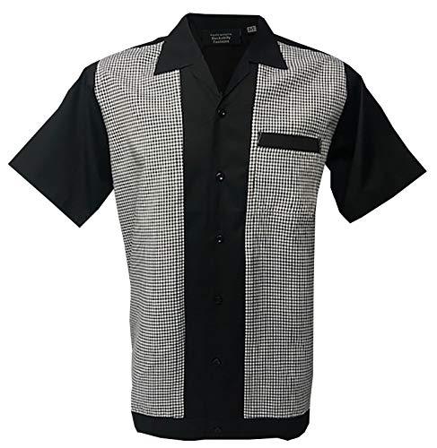 Rockabilly Fashions Mens Casual Shirt Bowling Retro Vintage Black White (XX-Large)