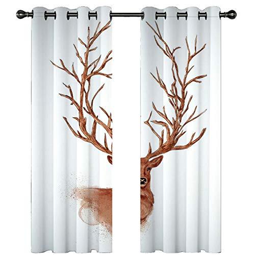 AMDXD Cortina Poliester, Cortinas para Salon Elegantes Animal Ciervo con Rama de Árbol Comedor Decoración (2 Paneles, Blanco Marrón, Tamaños 214x160CM)