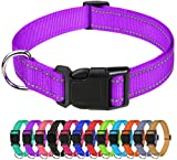 TagME Reflective Nylon Dog Collars, Adjustable Classic Dog Collar with Quick Release Buckle for Small Dogs, Purple, 5/8' Width