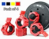 TOFEIC 1 Inch Quick Release Dumbbell Clamps 1'' Standard Barbell ABS Plastic Spinlock Weights Bar Plates Lock Collars Clips Great for Women Strongman Gym Muscle Exercise Powerlifting - Red 4pcs Set