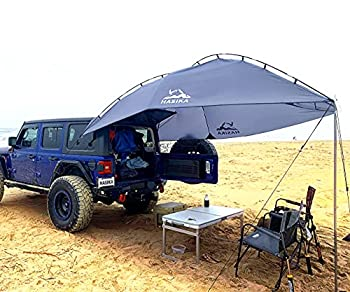 Versatility Teardrop Awning for SUV RVing Car Camping Trailer and Overlanding Light Weight Truck Canopy Durable Tear Resistant Tarp with 2 Sandbag