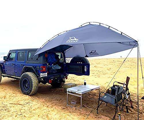 Versatility Teardrop Awning for SUV RVing, Car Camping, Trailer and Overlanding Light Weight Truck Canopy Durable Tear Resistant Tarp with 2 Sandbag