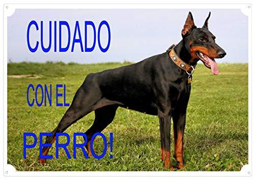 """CRAZY FAMILY SHOP Placa Cuidado con EL Perro"""" para ser aplicada en la Puerta Doberman Tamaño 30 x 21.5 cm"""
