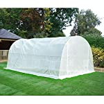 MELLCOM 20' x 10' x 7' Greenhouse Large Gardening Plant Hot House Portable Walking in Tunnel Tent, White 13 【8 ROLL-UP SIDE WINDOWS】-The green house eight roll-up windows have mesh netting to allow for cross ventilation and climate control. 【HEAVY DUTY STEEL FRAME】-Walk-in Garden Greenhouse solid steel construction with a galvanized finish, which is resistant to rust, chipping, and peeling. 【TRANSPARENT PLASTIC COVER】-The tough, durable and transparent PE plastic cover protects plants while allowing nourishing sunlight to pass through. The cover can be easily attached to the frame with the included tethers and single-sided tape.