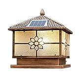GAXQFEI de Ahorro de Energía Solar Llevó Luces Porche Plaza Columna Al Aire Libre a Prueba de Lluvia Impermeable Ip55 Mensaje Linterna Del Bronce de Pantalla de Cristal de la Lámpara Del Pilar de Pat