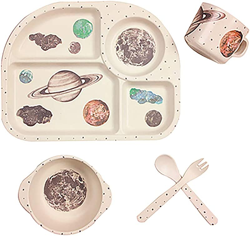 Hibabys Kids Dinnerware Set Eco Friendly Bamboo Dishes For Boys Girls