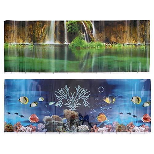 Carta da parati con sfondo per acquario a doppio lato - Adesivo per scenario con doppio lato 3D Adesivo per decalcomania Decorazione di sfondo - Sfond