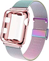 GBPOOT Compatible for Apple Watch Band 38mm 40mm 42mm 44mm with Screen Protector Case, Sports Wristband Strap...