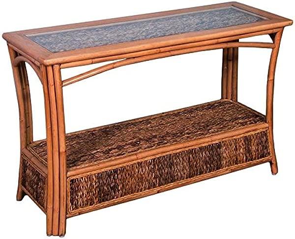 Alexander Sheridan PAN023 AH Panama Sofa Table In Antique Honey Finish With Glass