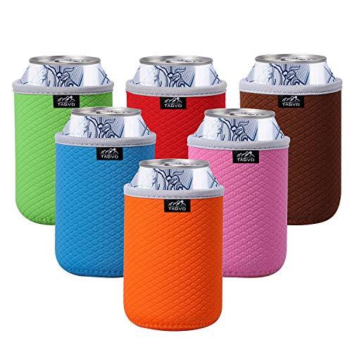 TAGVO - Set di 6 custodie isolanti per lattine di birra, facili da applicare, lavabili in lavatrice, resistenti, in neoprene, con bordi in tessuto cucito