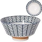 みのる陶器美濃焼 寿々-JUJU- 反型茶碗呉須 矢羽φ12.8×H6.5cm