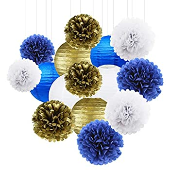 15Ps White Royal Blue Gold Party Decoration Paper Lanterns Paper Pompoms Balls Hanging Decoration Backdrop for Baby Shower Birthday Party Decor Wedding Bridal Shower Centerpieces Home Decor Graduation