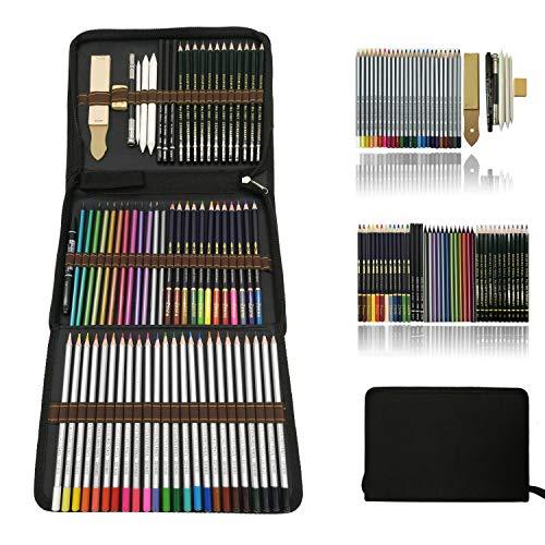Profesional Lápices de colores Conjunto de Dibujo Artístico,lapiz dibujo y Bosquejo Material Set,Incluye lápices metálicos,acuarelables,carbón,Lápices Pastel,Herramientas de dibujo y Caja de lápiz ✅