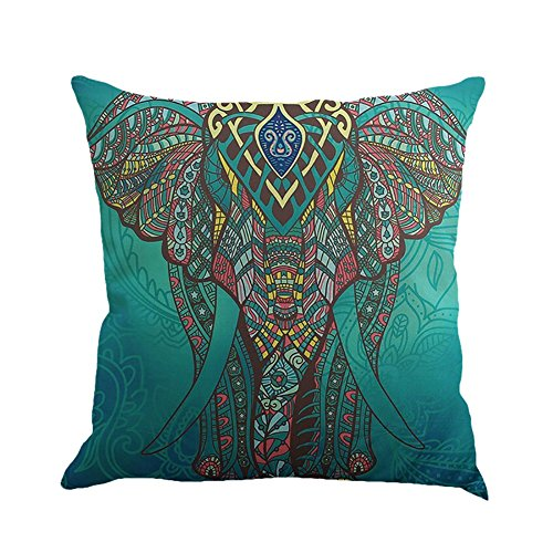 Hankyky Cushion Cover, Linen Mandala Style Pillow Case Elephant Tree Flowers Moon Sun Printed Home Decor Throw Sofa Car, 18 x 18 inch