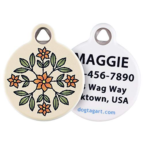 Dog Tag Art Flower Design Pet ID Tag for Dogs and Cats (Large (1.25' Diameter), Floral Design)