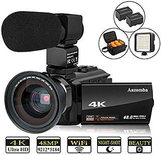 ビデオカメラ Aazomba デジタルビデオカメラ 4K Wi-Fi 4800万画素 16倍デジタルズーム IR赤外線暗視機能 270度回転 広角レンズ装着可能 3型 IPS チタッチパネル 64球 LEDビデオライト超広角レンズ搭載 二つバッテリーあり 外付けマイク カメラバック 日本語取扱説明書 (4800万画素)
