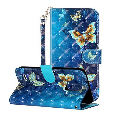 i-Hülle 3D Effect Glitzer Kompatibel mit LG K8 (2018) Handyhülle Phone Hülles PU Lederhülle Brieftasche Etui Handytasche Kartenfach Buchstil Flip Tasche für LG K8 (2018),Blauer Schmetterling