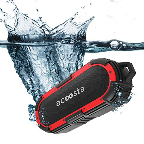 ACOOSTA BOLD 850, IPX8 100% Waterproof, Portable Wireless Bluetooth Speaker (10 watt) with Loud Bass, Shockproof & Dustproof with Built in Mic, Aux & Upto 12hrs of Playtime (2500 mAh) - (Black-Red)