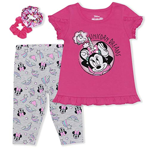 Minnie Unicorn Dreams Legging Set W/Ponytail Holders Pink