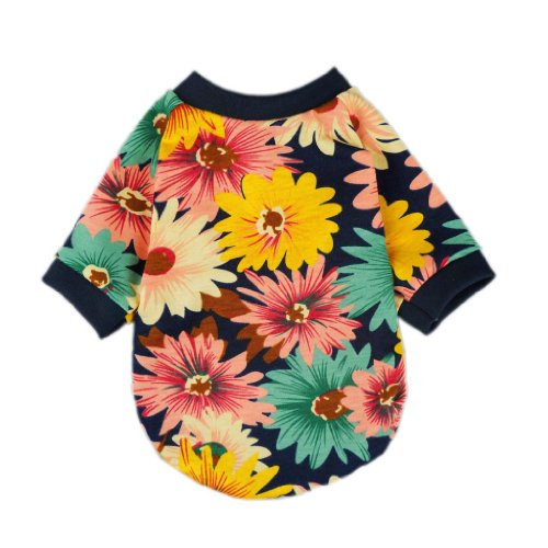 Fitwarm Fashion Summer Floral Dog T-Shirt for Pet Dog Clothes Cozy Apparel, Large