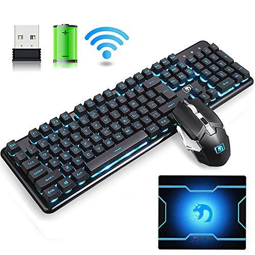 Hoopond Tastiera Wireless Ricaricabile 2.4G Combinazione di Mouse e Tastiera, Blu LED Tastiera da Gioco retroilluminata +6 Chiave Arcobaleno Flash 2400 DPI Gaming Mouse + Mouse Pad (Luce Nera e Blu)