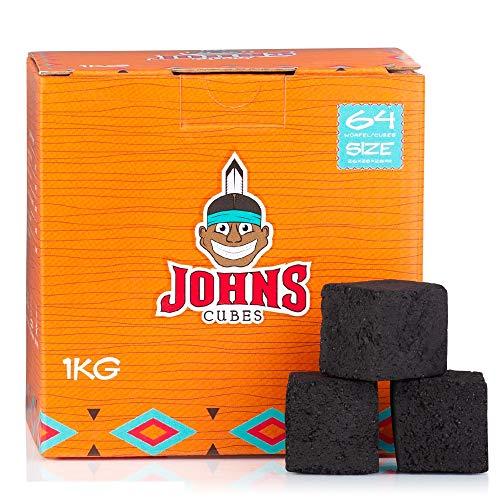 Johns Cubes - Carbón natural para shisha (26 unidades, 100% cáscaras de coco, 1 kg)