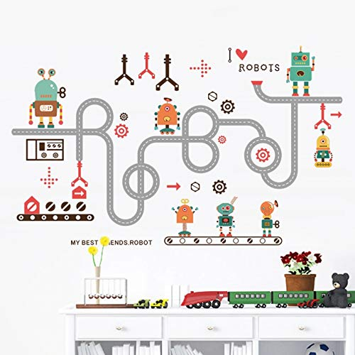 GEYKY DIY Removable Toy Robots Wall Sticker Children Kids Baby Nursery Bedroom Home Decal Decoration Boys Poster Decor Decal