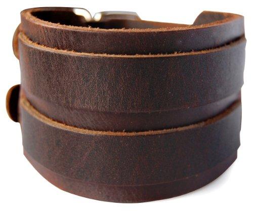 axy LAB1-5 LEDERARMBAND BREIT Serie! ECHT Leder Armband Leather Bracelet! Surferarmband Herren (Braun/Brown)