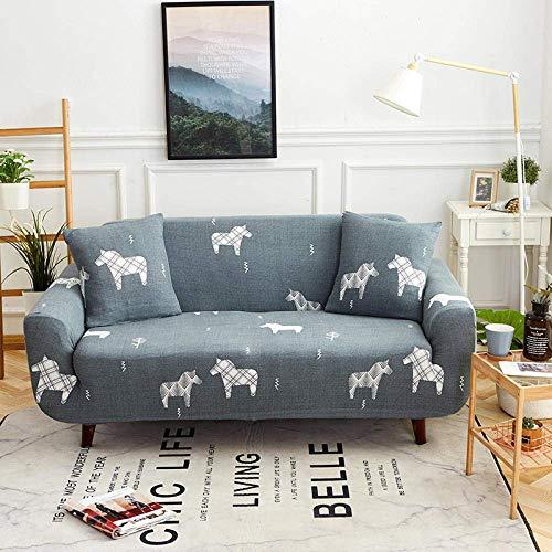 Lsqdwy Sofabezug 1-Sitzer Stretch Elastic Fabric Sofa Schonbezug Bedruckte Polyester Spandex Möbel Dekorative Soft Loveseat Couchbezüge Stuhl Protector Sofabezüge Grey Tierpferd