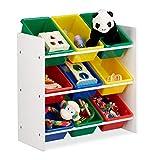 Relaxdays Kinderregal mit Regalboxen, Aufbewahrungsregal, buntes Spielzeugregal, MDF+Kunststoff, HxBxT 68x65x31cm