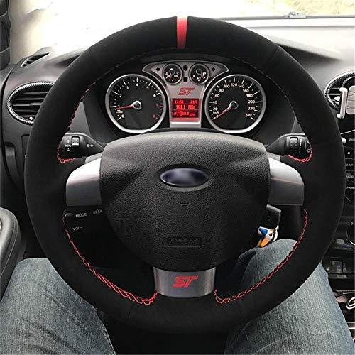 LUOERPI Handgenähtes schwarzes Leder schwarzer Auto-Lenkradbezug aus Wildleder, für Ford Focus 2 Focus 3 Focus RS