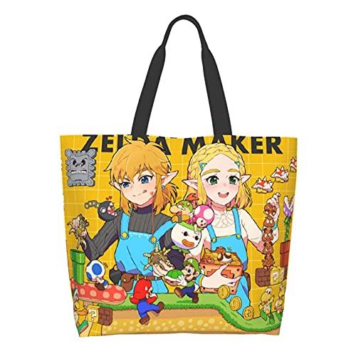 Juego de dibujos animados Super Mario Legend of Zelda Señoras Gran Capacidad Bolsa de Hombro de Compras Escuela de Trabajo Bolsa Bolsa Bolsa de Almacenamiento de Comestibles Bolsa de Tableta