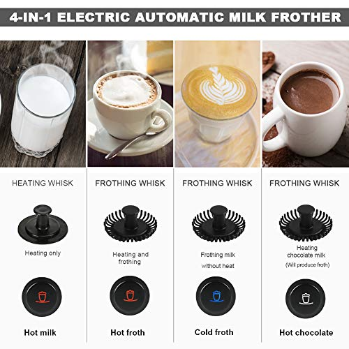 Secura 4 in 1 Electric Automatic Milk Frother and Hot Chocolate Maker Machine 8.45 oz Stainless Steel Dishwasher Safe Cordless Removable Milk Jug