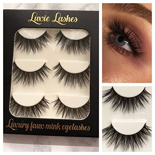 LUXIE LASHES 3D Luxury Fluffy Faux Mink Natural Silky Strip Fake Long Eyelashes Multipack - 3 Pairs Pack Cruelty Free (Elvira)