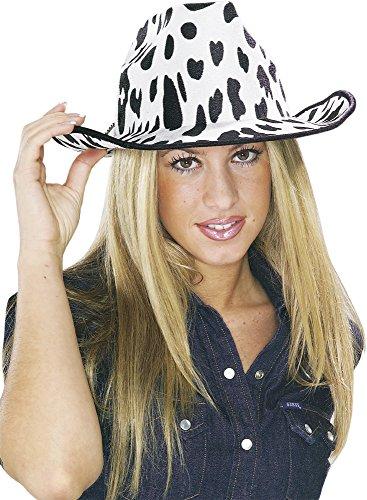 Rubies-S5285 Sombrero Cowboy Vaca adulto, color blanco y negro, Talla única (Rubie