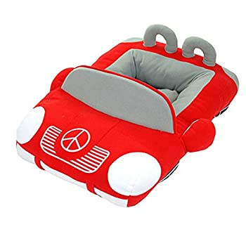 BADASS SHARKS Cool Sports Car Shaped Pet Dog Bed House Small Dog Cat House Waterproof Warm Soft Puppy Sofa Kennel Black/Yellow/Red  Red
