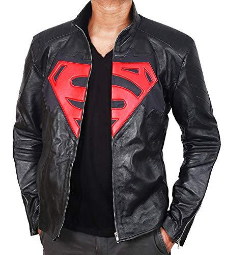 Superman Man of Steel Lederjacke Schwarz Motorcycle Jack (XS)