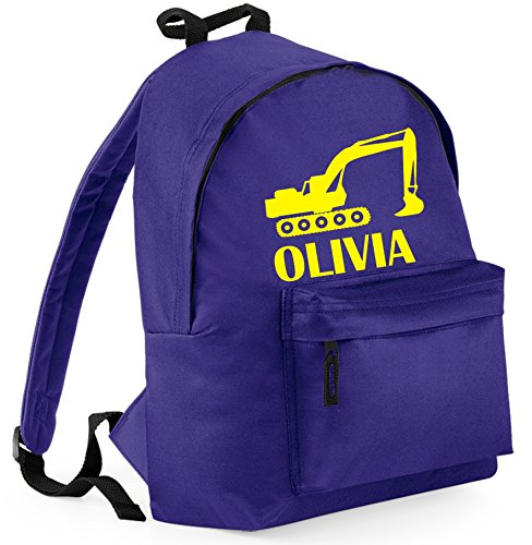 'PERSONALISED PURPLE backpack With Digger and Name with Yellow Print
