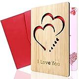 Grußkarte aus Holz, YIRSUR Handgefertigte Beschreibbare Bambuskarte,Kreative Geschenkkarten mit...