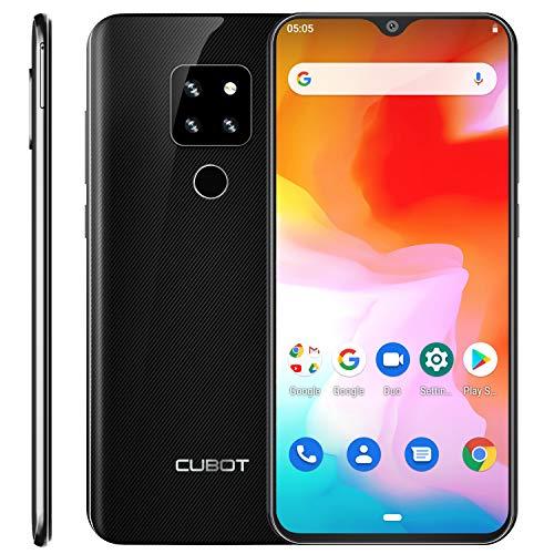 CUBOT P30 4G Smartphone ohne Vertrag 16.0cm (6.3 Zoll) FHD+ Wassertropfen Display 4+ 64 GB, Triple-Kamera, Dual-SIM, Android 9 4000mAh Face ID und Fingerabdrücke Schwarz Charcoal Black