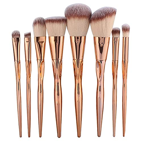 Conjunto de pincéis de maquiagem de metal, 8 peças, cosméticos, base em pó, sombra, blush, revestimento labial, kit de pincéis de maquiagem (tamanho A: 8 peças)