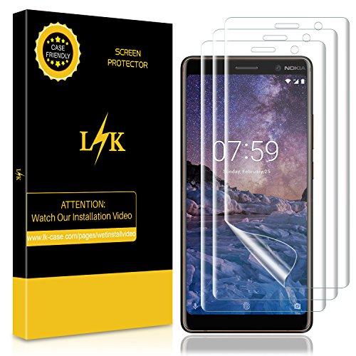 LK [3 Pack Pellicola Protettiva per Nokia 7 Plus, Wet Applied [Copertura Completa] HD Clear Film [Bubble-Free-Riutilizzabile] Trasparente Pellicola in TPU Screen Protector [Garanzia a Vita]