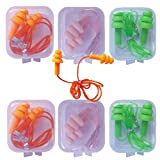6 Pair Reusable Silicone Ear Plugs, Waterproof, Ultra Comfortable Noise Reduction Earplugs for Sleeping, Swimming, Concerts and Airplanes