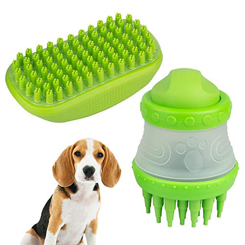 YuCool Pet Dog Cat Bath Massage Brush Comb, Shedding Hair Remover with Catching Screen and Shampoo Dispenser Silicone Bristle for Long and Short Hair Medium Large Pets Shampooing and Shower-Green