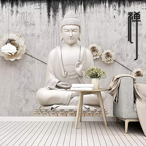 BHGJP Selbstklebende Wandtapete (B)350×(H)256Cm Buddhistische Statuen, Buddhistische Figuren, Religiöse Figuren Wand-Fernsehhintergrundwandbürostudienkinderzimmerwohnzimmer-Wanddekorationstapete