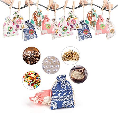 ahanzhu 24 adventskalender zum befüllen - stoffbeutel Weihnachten geschenksäckchen adventskalender 2019 weihnachtskalender bastelset weihnachtsdekoration